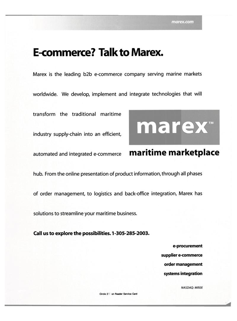 Maritime Reporter Magazine, page 1,  Oct 2000 e-procurement supplier
