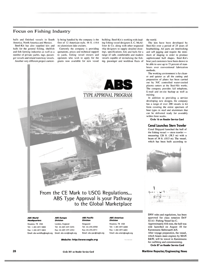 Maritime Reporter Magazine, page 28,  Oct 2000 steel