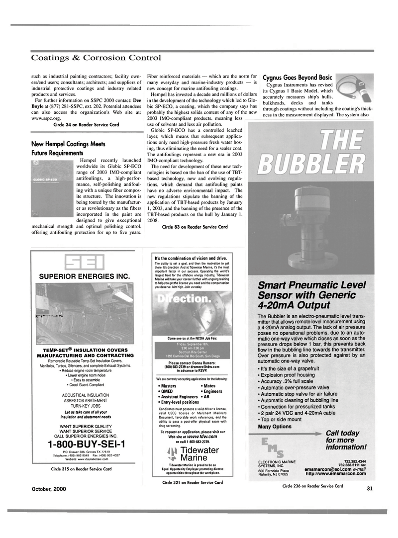 Maritime Reporter Magazine, page 31,  Oct 2000 2003 IMO-compliant technology