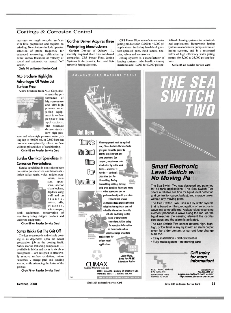 Maritime Reporter Magazine, page 35,  Oct 2000 water jetting products