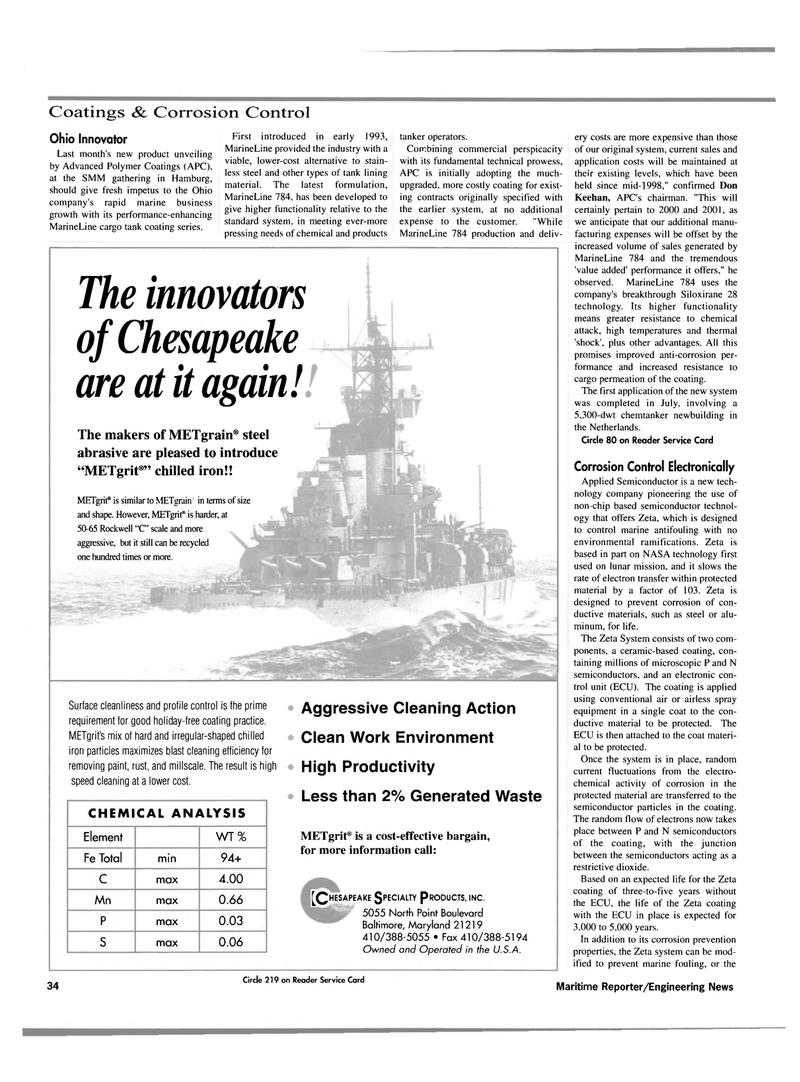 Maritime Reporter Magazine, page 36,  Oct 2000