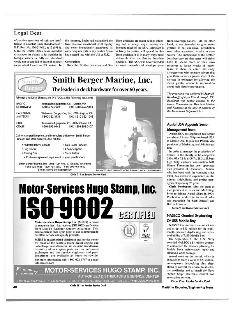 Maritime Reporter Magazine, page 42,  Oct 2000 Washington