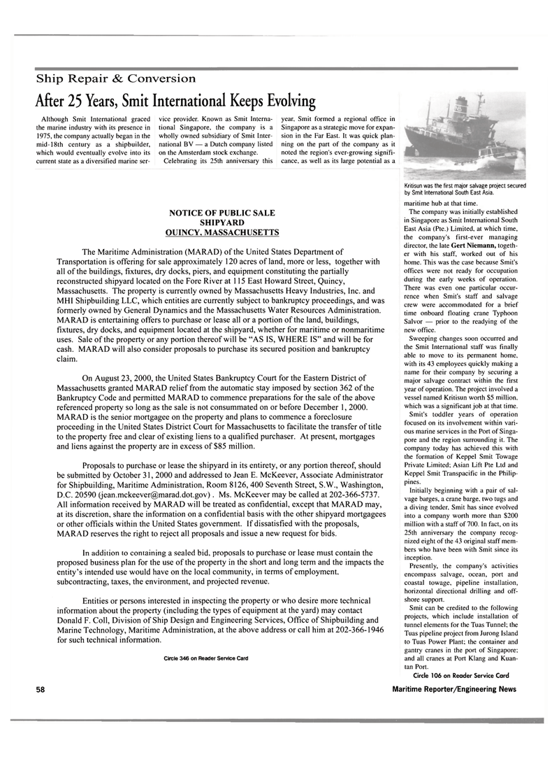 Maritime Reporter Magazine, page 60,  Oct 2000 United States Government