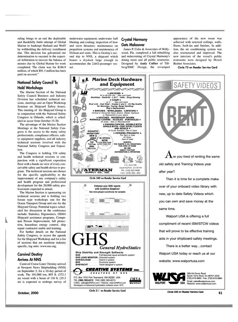 Maritime Reporter Magazine, page 63,  Oct 2000 Washington