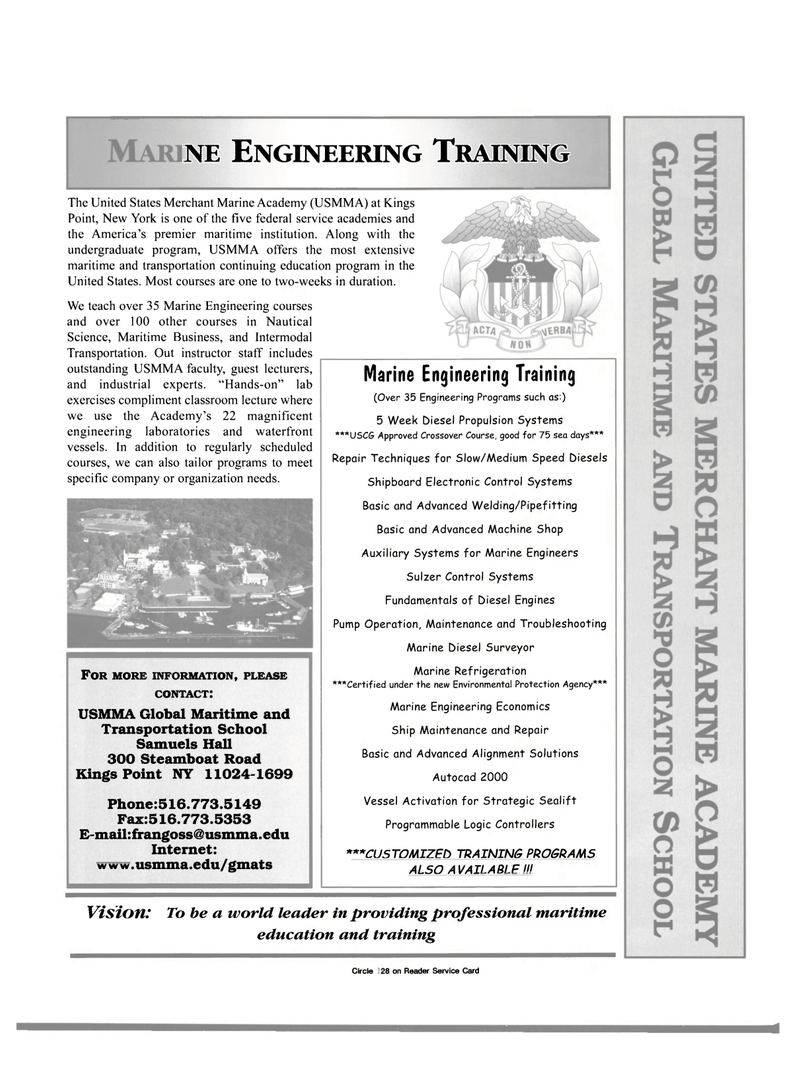 Maritime Reporter Magazine, page 5,  Oct 2000 USMMA Global Maritime and Transportation School