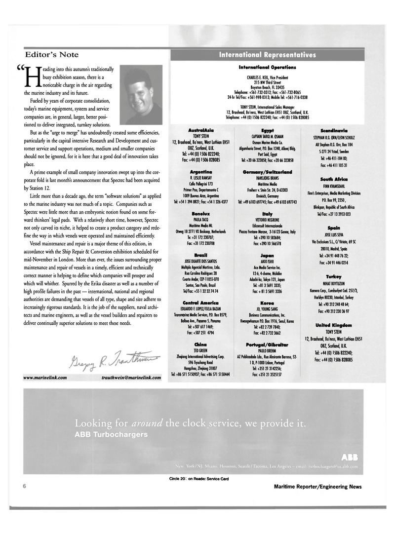 Maritime Reporter Magazine, page 6,  Oct 2000 Scandinavia