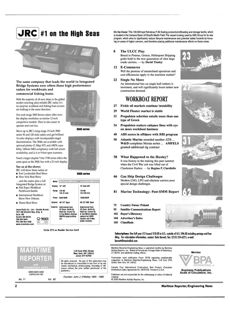 Maritime Reporter Magazine, page 2,  Nov 2000 Connecticut