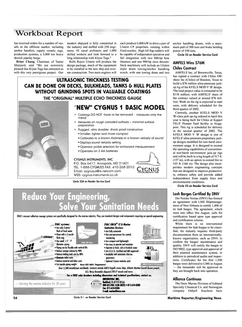 Maritime Reporter Magazine, page 56,  Nov 2000