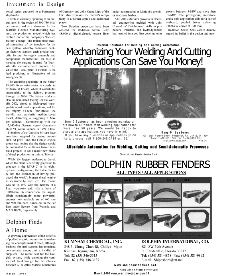 Maritime Reporter Magazine, page 9,  Mar 2001 naval applications