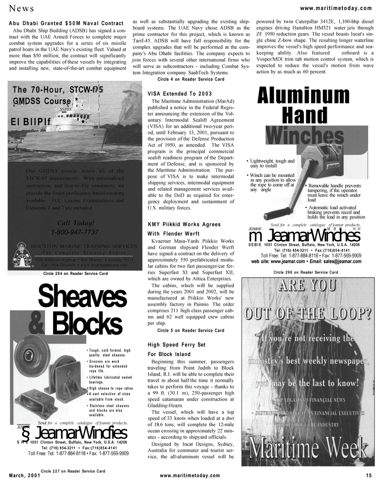 Maritime Reporter Magazine, page 15,  Mar 2001 Department of Defense