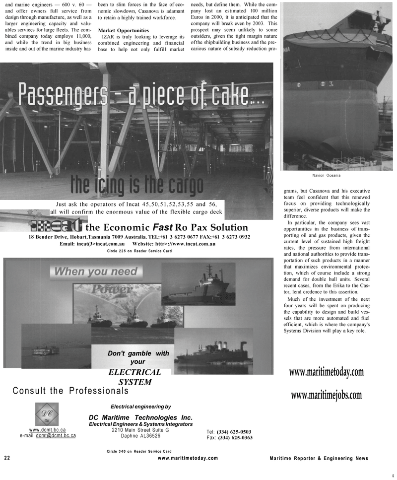 Maritime Reporter Magazine, page 22,  Mar 2001 diverse products