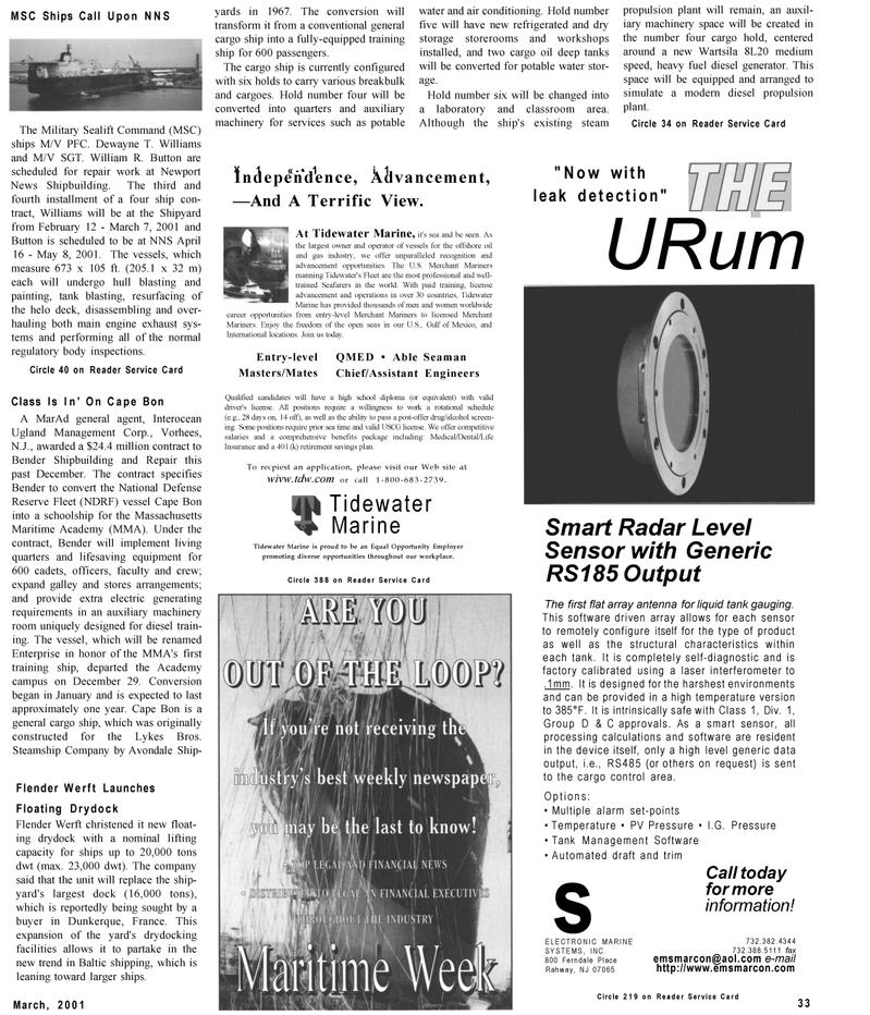 Maritime Reporter Magazine, page 33,  Mar 2001 Massachusetts