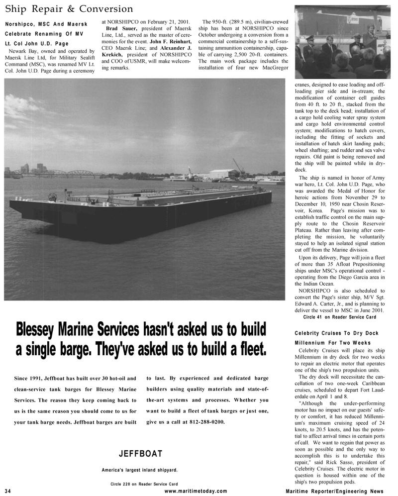 Maritime Reporter Magazine, page 34,  Mar 2001 Edward A. Carter , Jr.