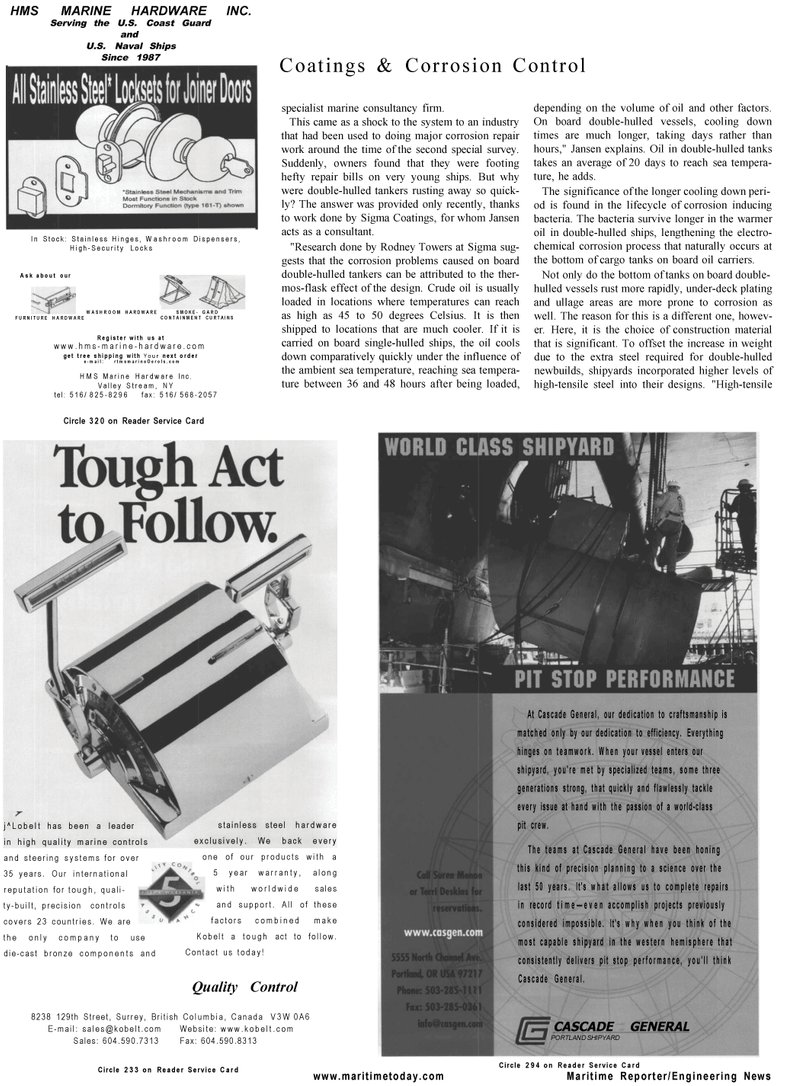 Maritime Reporter Magazine, page 44,  Mar 2001 steel