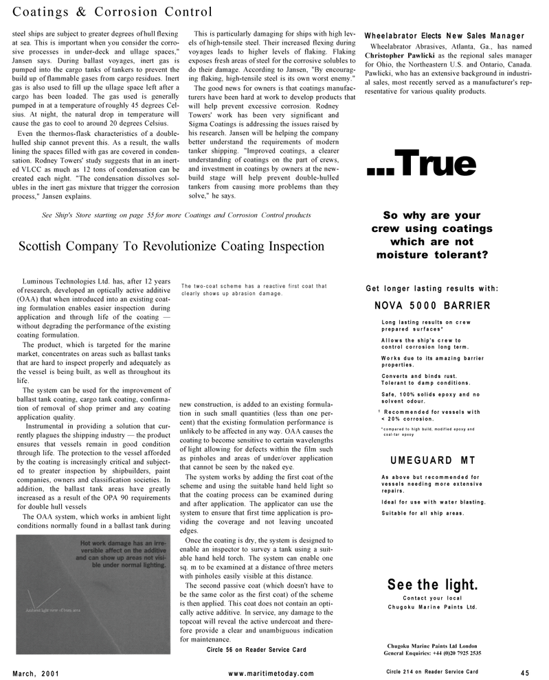 Maritime Reporter Magazine, page 45,  Mar 2001 Wheelabrator Abrasives