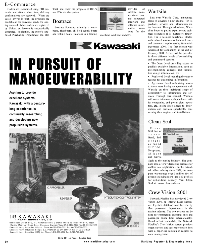 Maritime Reporter Magazine, page 60,  Mar 2001 Purchasing Department