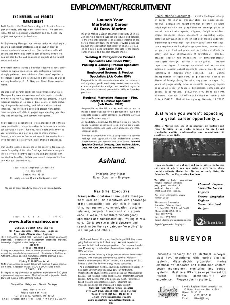 Maritime Reporter Magazine, page 69,  Mar 2001 Florida