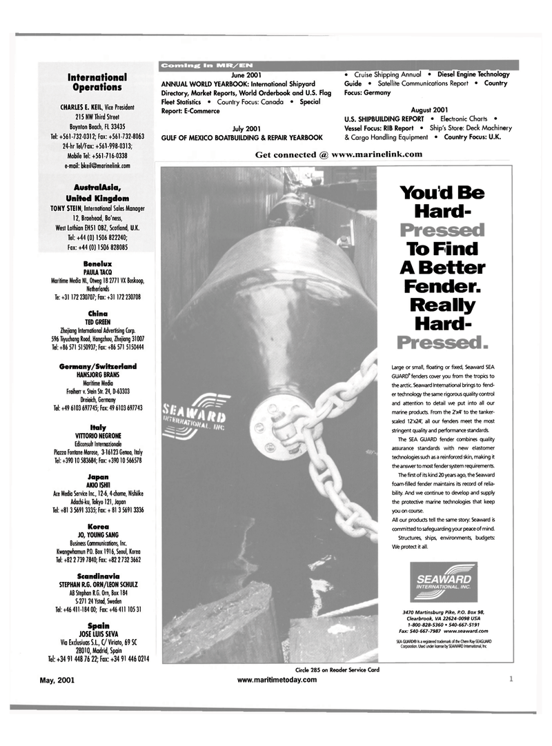 Maritime Reporter Magazine, page 1,  May 2001 er technology