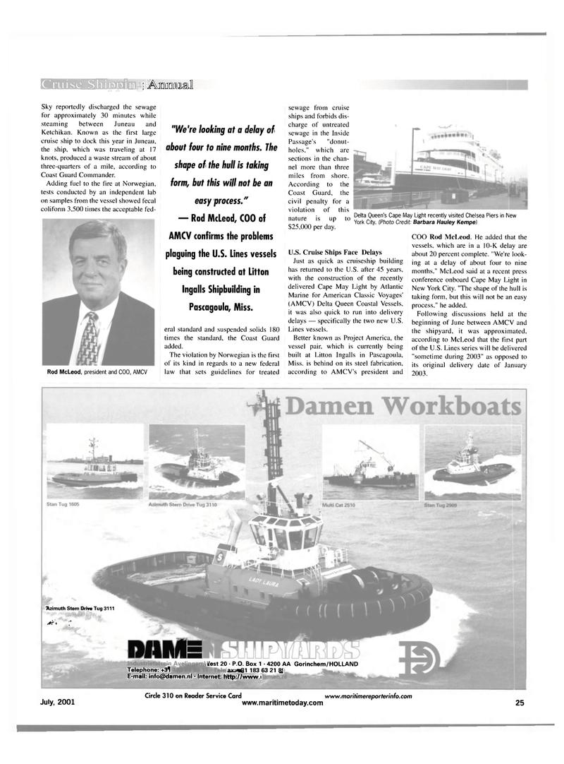 Maritime Reporter Magazine, page 25,  Jul 2001 Chelsea Piers