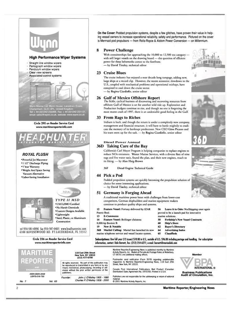 Maritime Reporter Magazine, page 2,  Jul 2001 California