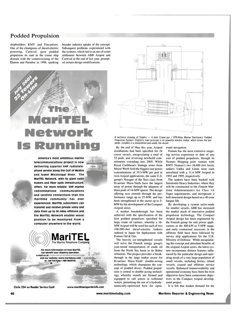 Maritime Reporter Magazine, page 54,  Jul 2001 podded propulsion technology