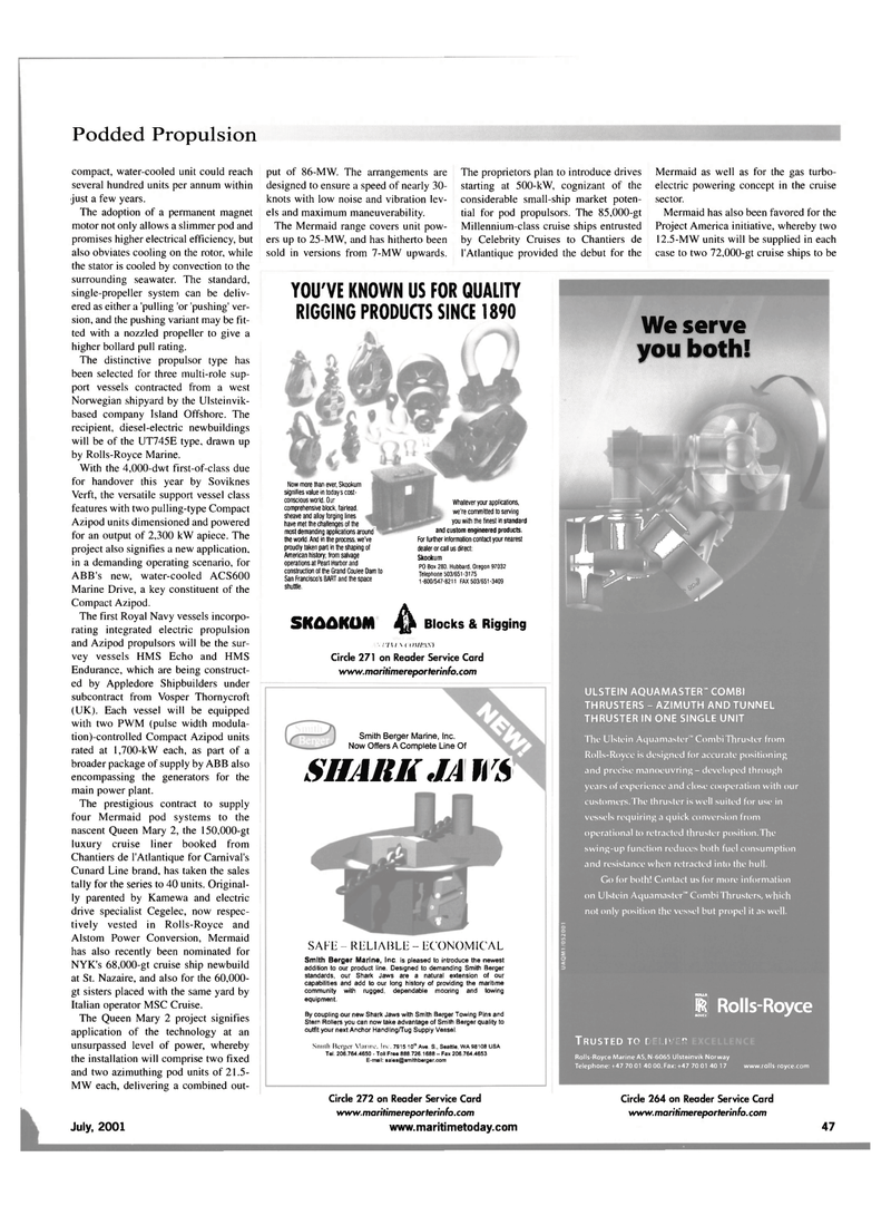 Maritime Reporter Magazine, page 55,  Jul 2001 Mary