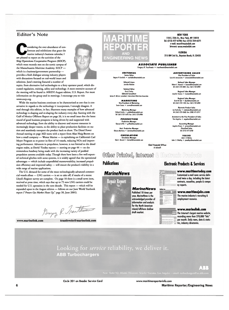 Maritime Reporter Magazine, page 6,  Jul 2001 ELECTRONIC PRODUCTS