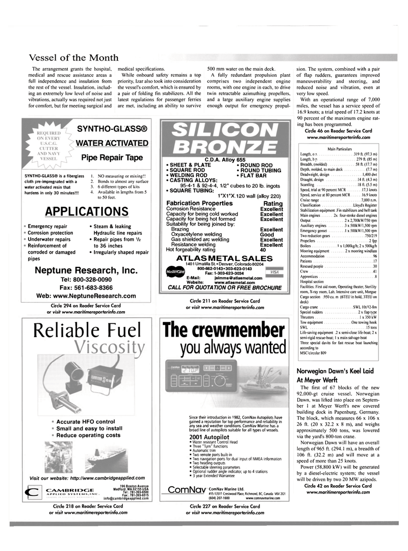 Maritime Reporter Magazine, page 22,  Oct 2001