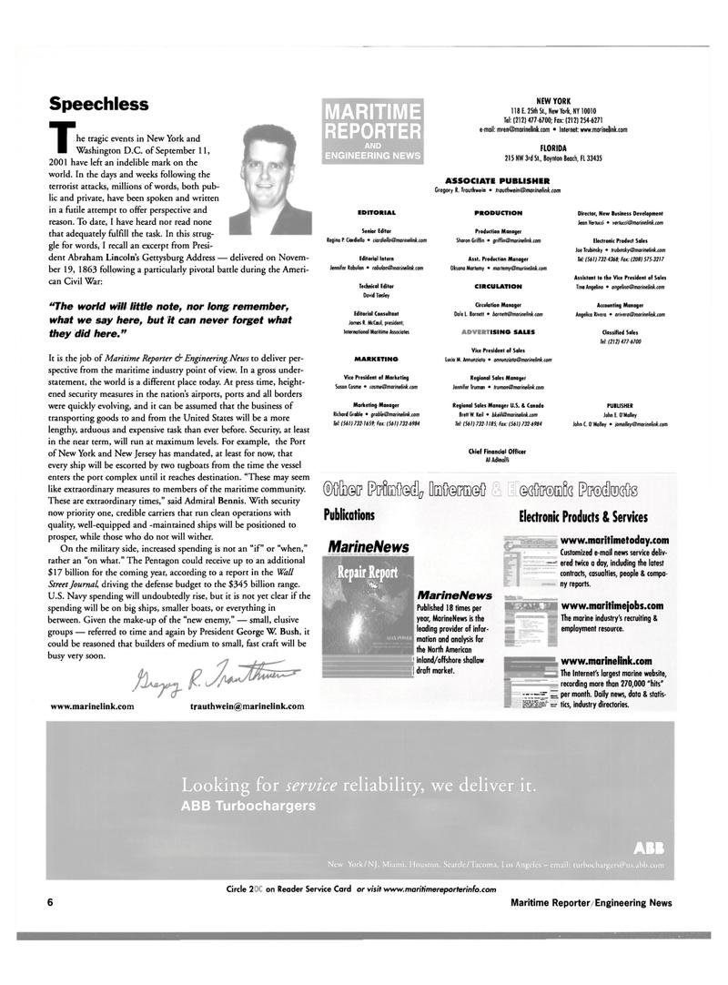 Maritime Reporter Magazine, page 6,  Oct 2001 New Jersey