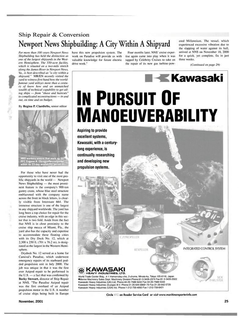 Maritime Reporter Magazine, page 25,  Nov 2001 Regina R Ciardiello