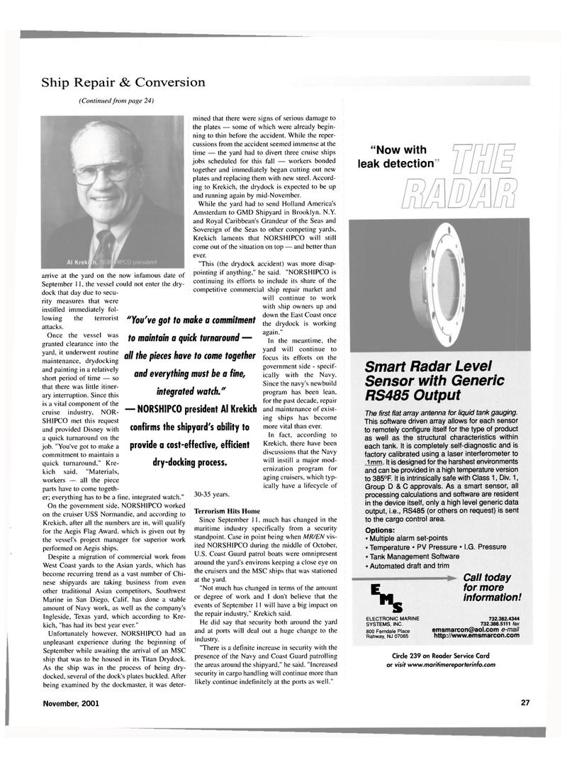Maritime Reporter Magazine, page 27,  Nov 2001