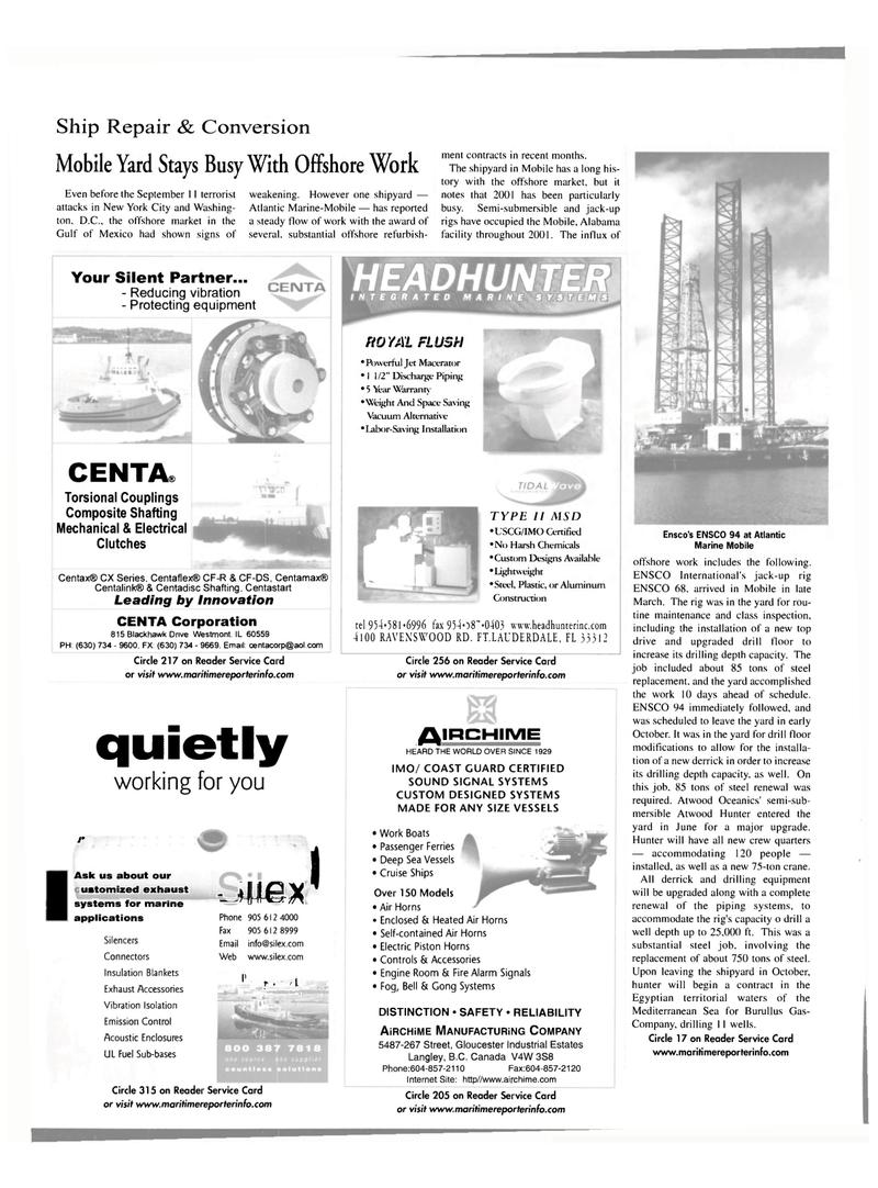 Maritime Reporter Magazine, page 28,  Nov 2001 Illinois