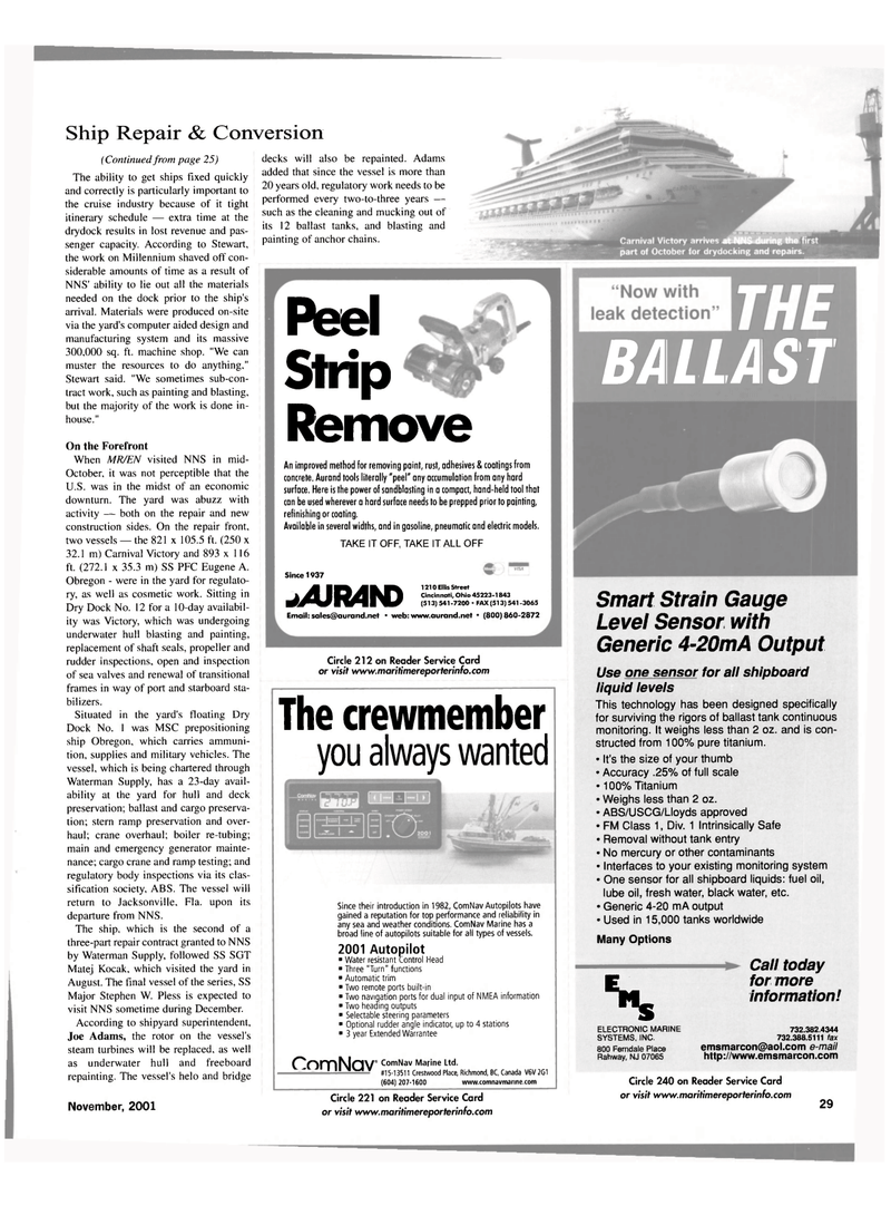 Maritime Reporter Magazine, page 29,  Nov 2001 Florida