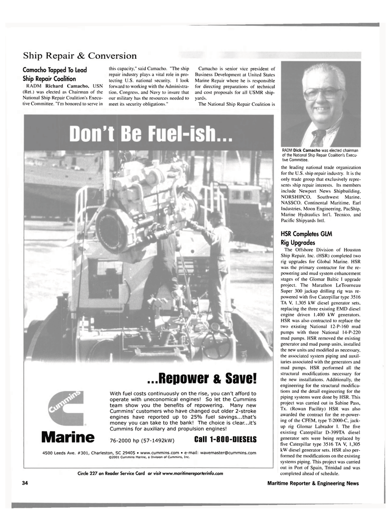 Maritime Reporter Magazine, page 34,  Nov 2001 offshore Division of Houston