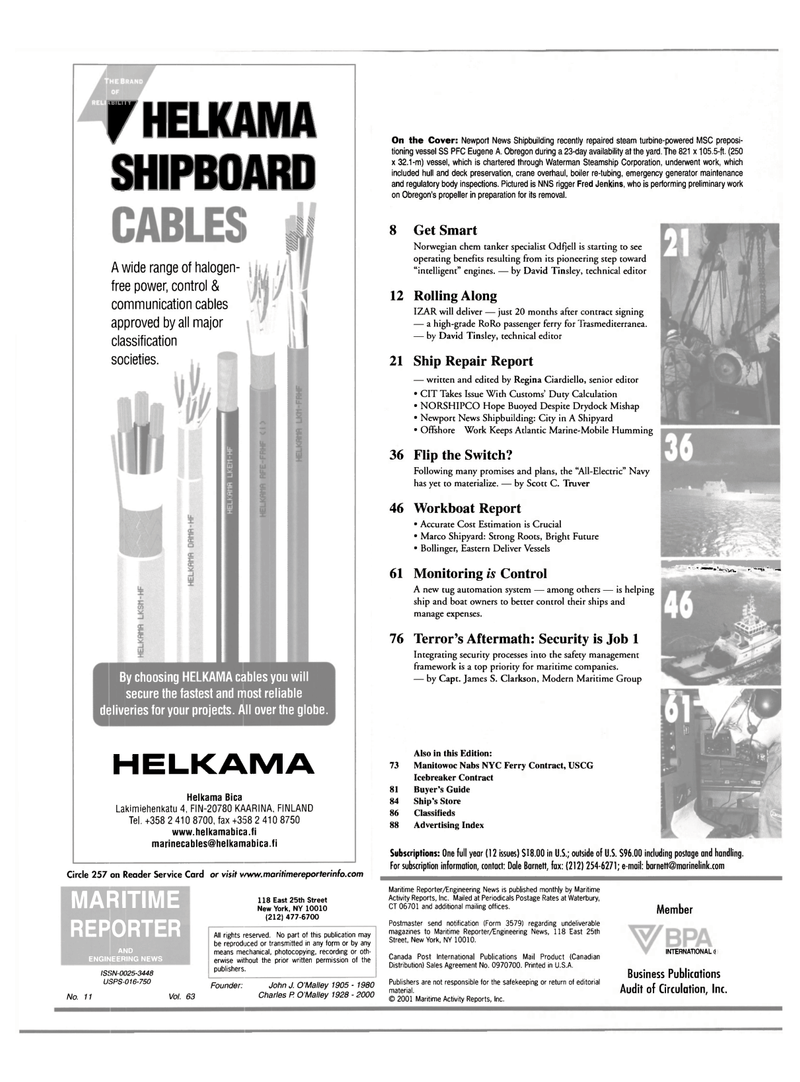 Maritime Reporter Magazine, page 2,  Nov 2001 John J. O
