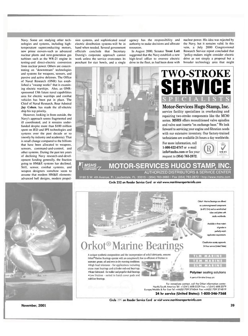 Maritime Reporter Magazine, page 39,  Nov 2001 AUTHORIZED DISTRIBUTORS & SERVICE CENTER