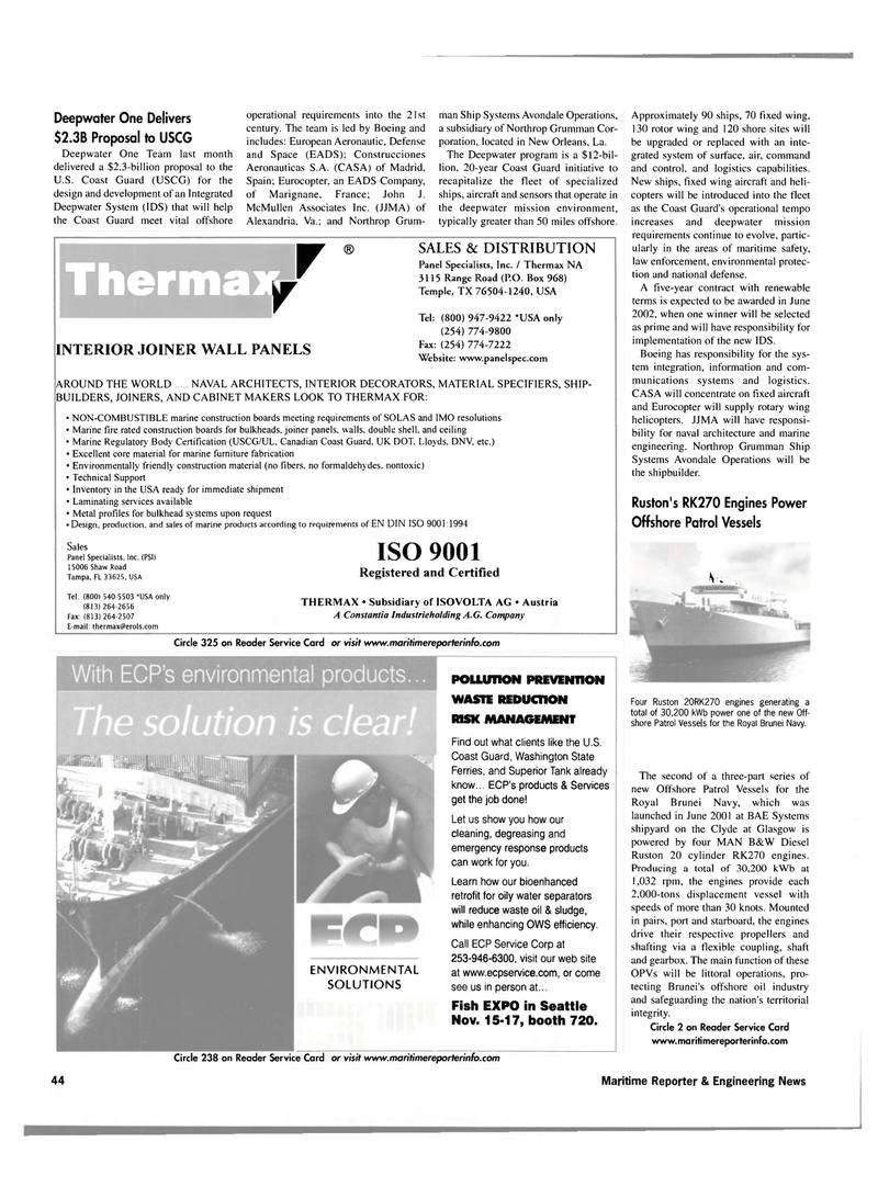 Maritime Reporter Magazine, page 44,  Nov 2001 Canadian Coast Guard