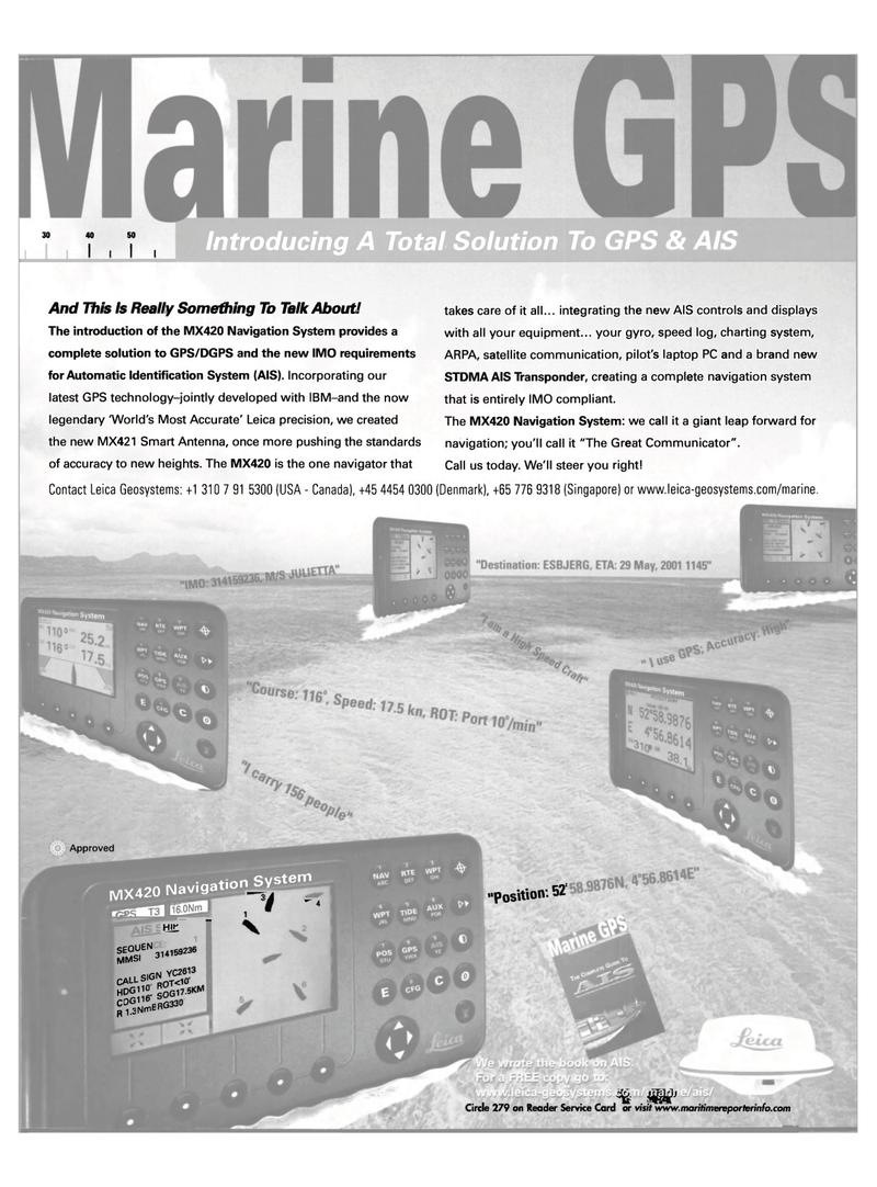 Maritime Reporter Magazine, page 3,  Nov 2001 satellite communication
