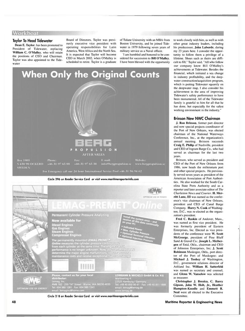 Maritime Reporter Magazine, page 48,  Nov 2001 Massachusetts