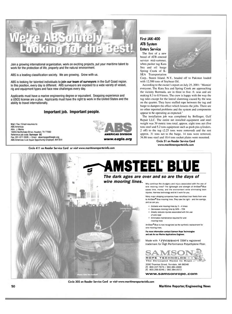 Maritime Reporter Magazine, page 50,  Nov 2001 Washington
