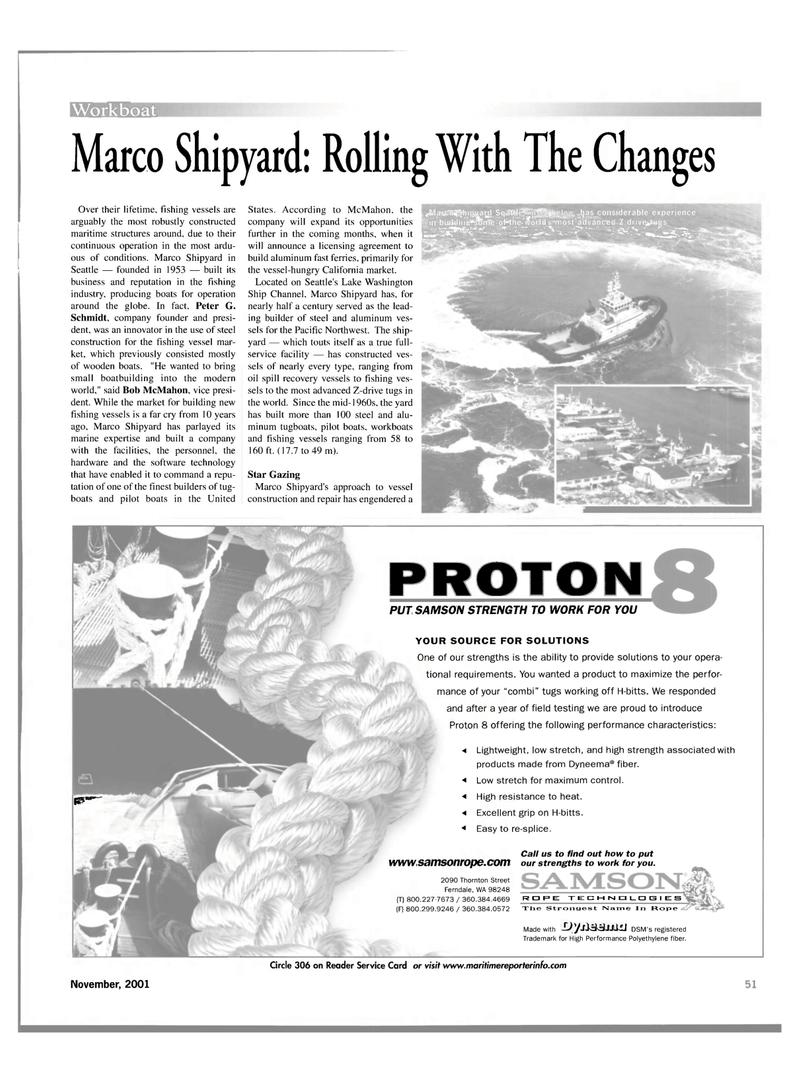 Maritime Reporter Magazine, page 51,  Nov 2001 California