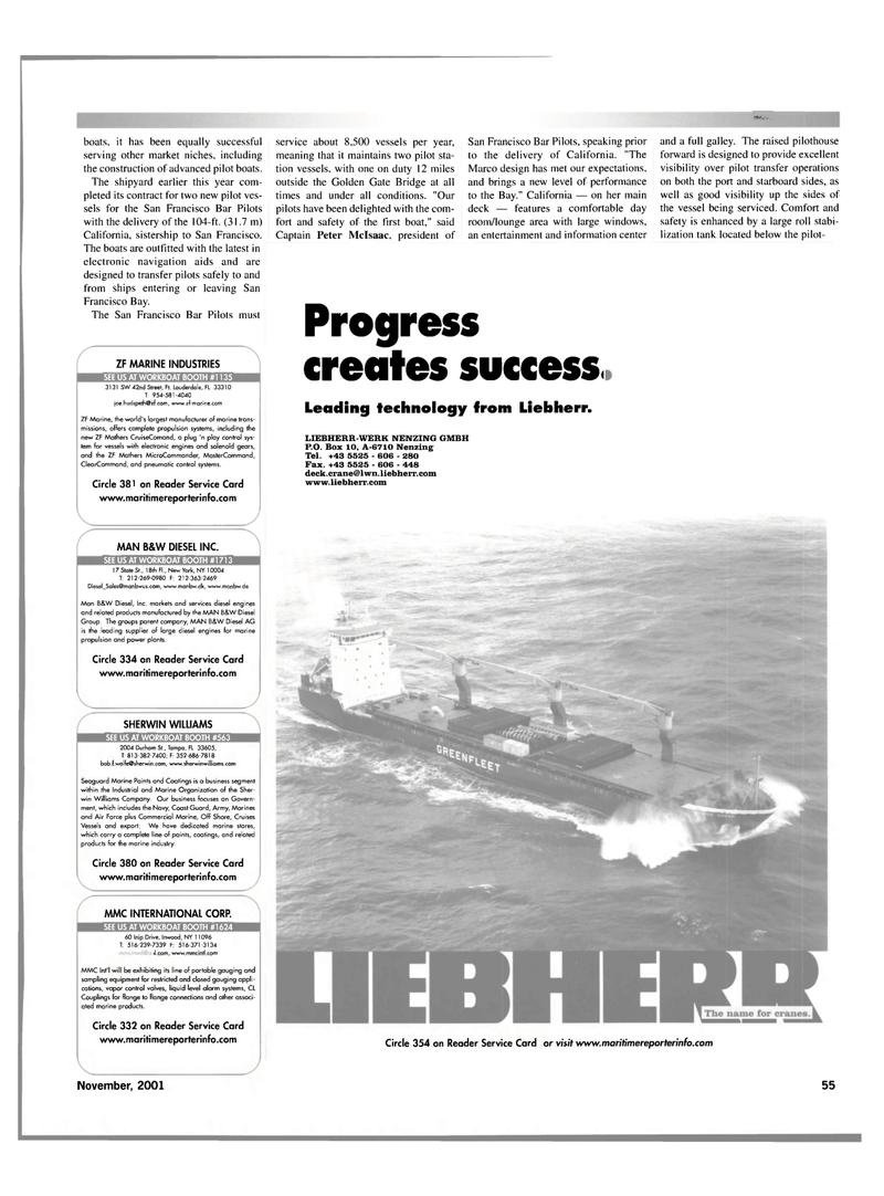 Maritime Reporter Magazine, page 55,  Nov 2001 Mathers CruiseComand