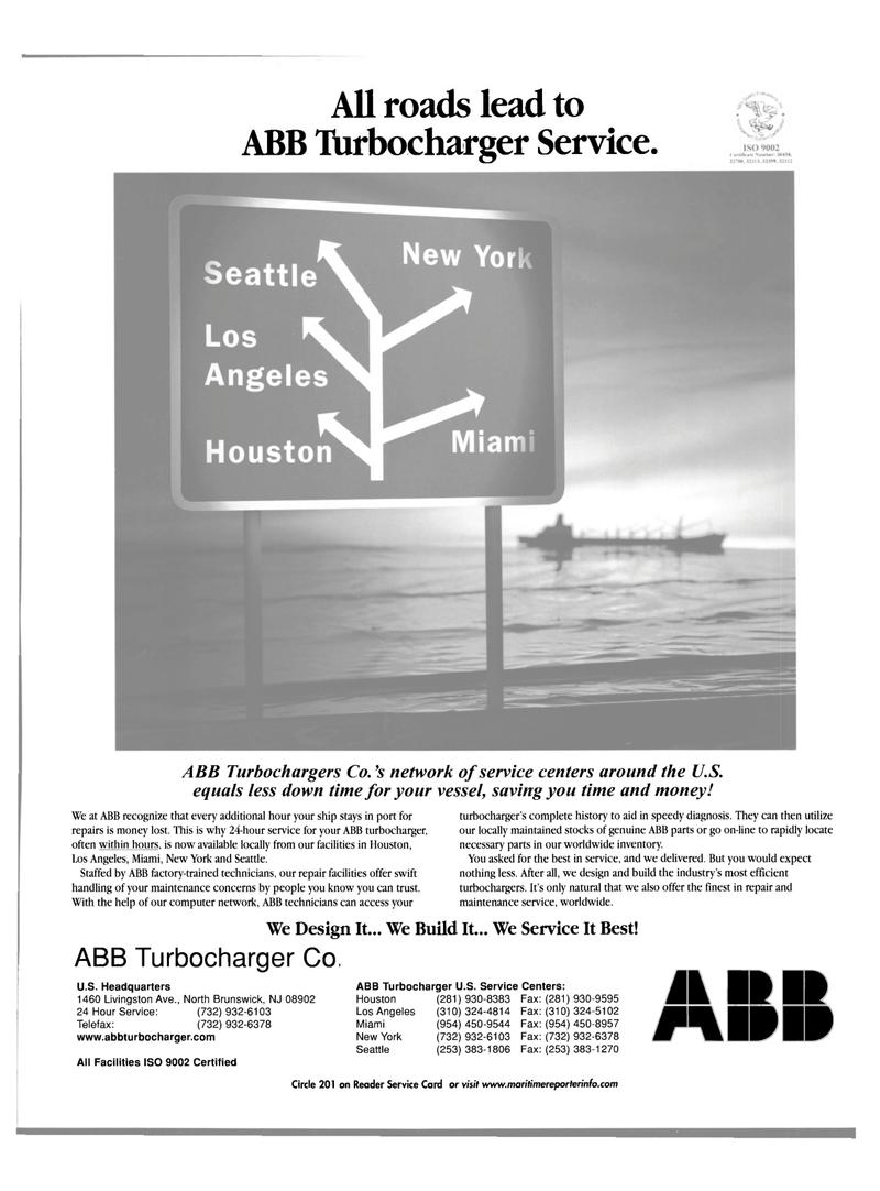 Maritime Reporter Magazine, page 57,  Nov 2001 ABB Turbocharger Service