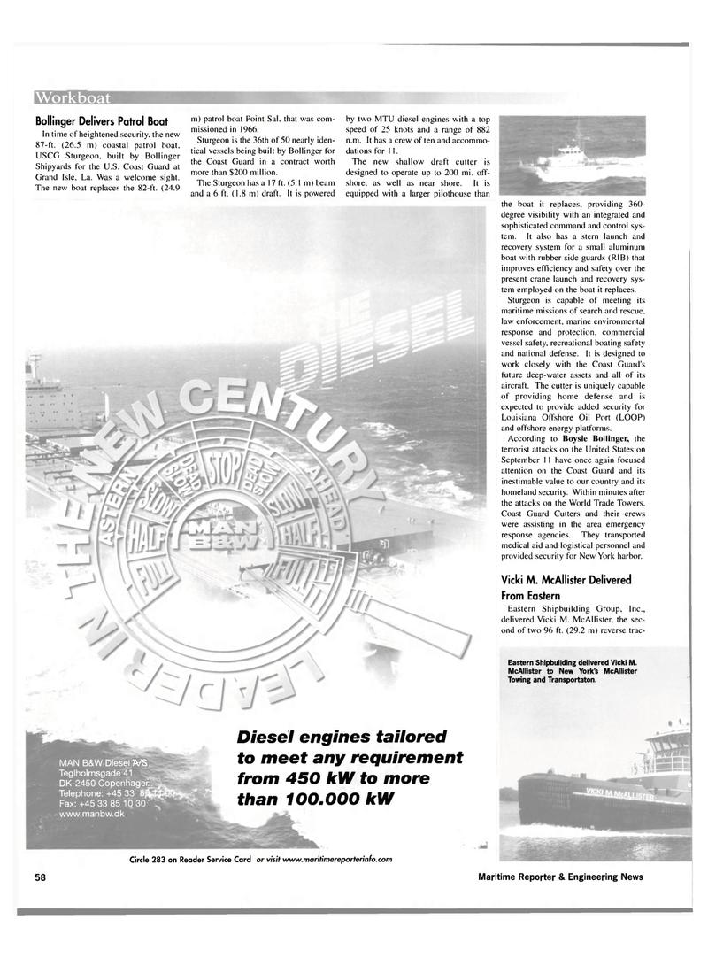 Maritime Reporter Magazine, page 58,  Nov 2001 Vicki M. McAllister Delivered