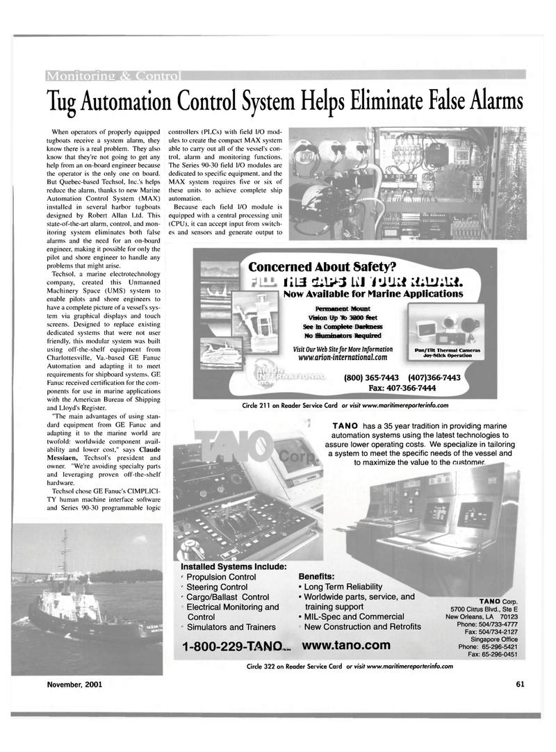 Maritime Reporter Magazine, page 61,  Nov 2001 Quebec