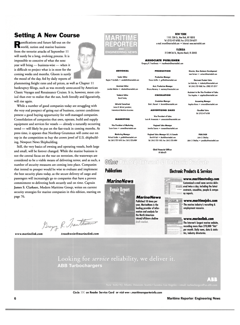 Maritime Reporter Magazine, page 6,  Nov 2001 James R. McCaul