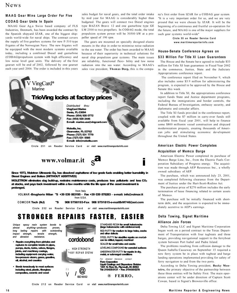 Maritime Reporter Magazine, page 16,  Dec 2001