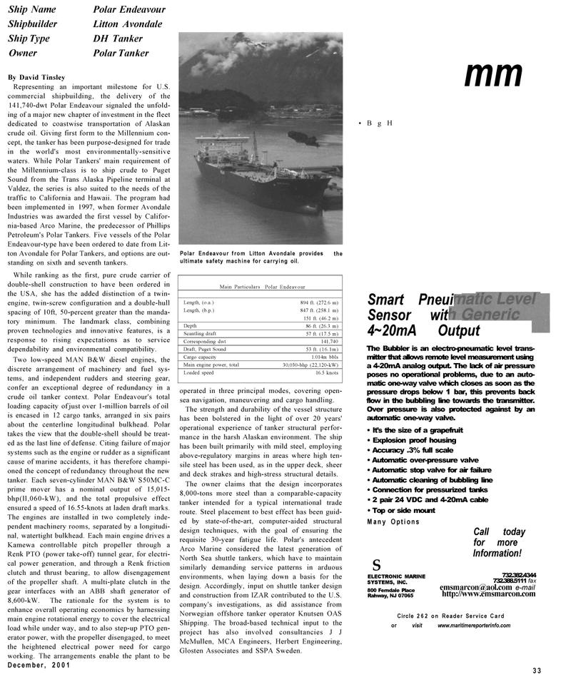 Maritime Reporter Magazine, page 33,  Dec 2001