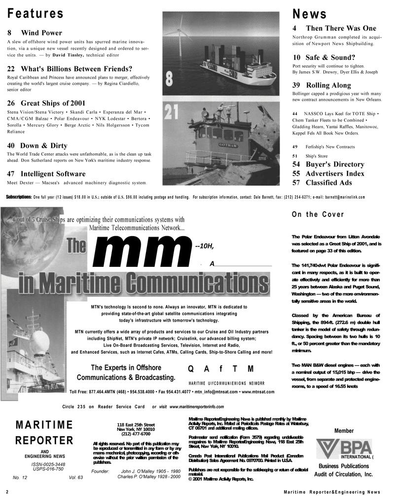Maritime Reporter Magazine, page 2,  Dec 2001