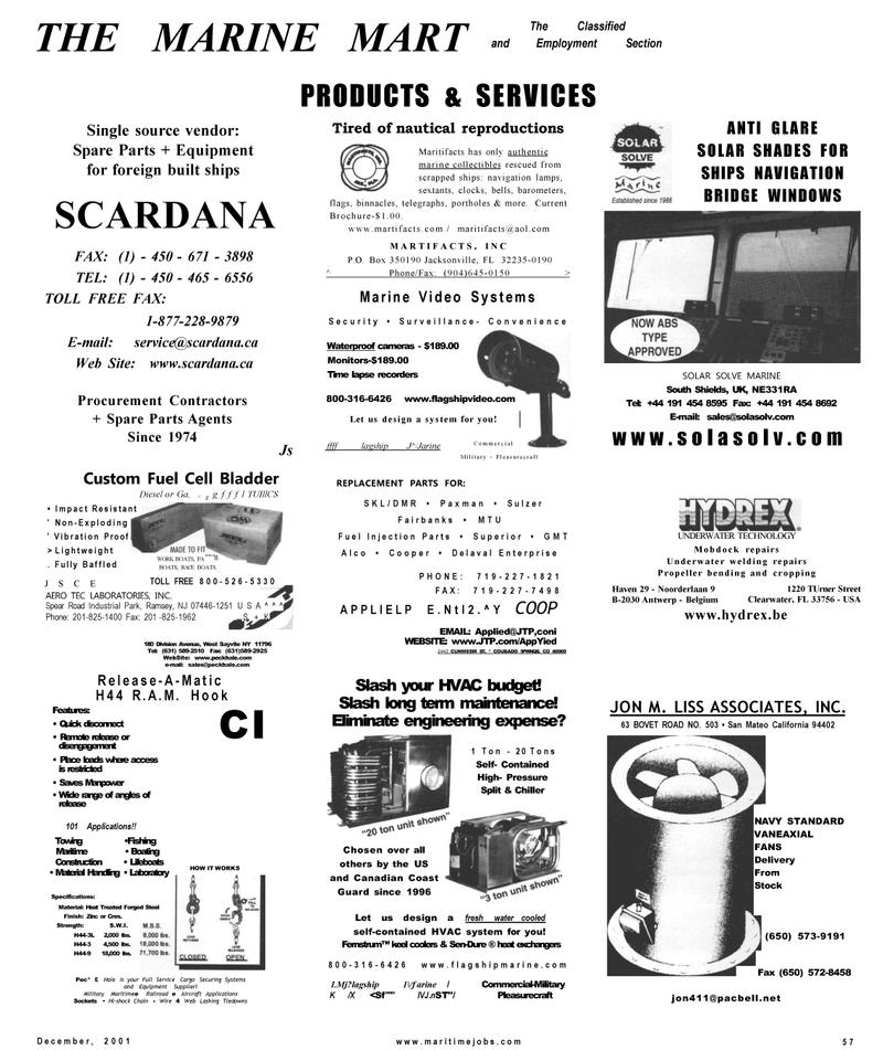 Maritime Reporter Magazine, page 57,  Dec 2001